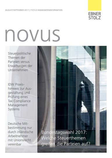 Ebner Stolz novus Mandanteninformation August/September 2017
