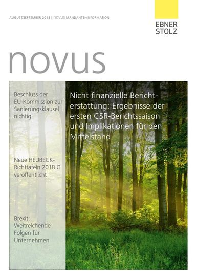 Ebner Stolz novus Mandanteninformation August/September 2018