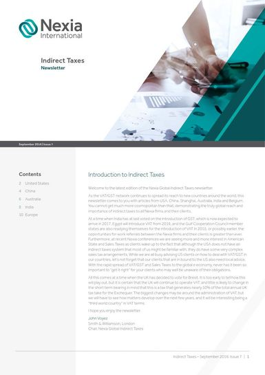 Nexia Gloabl Indirect Taxes Newsletter, September 2016, Issue 7