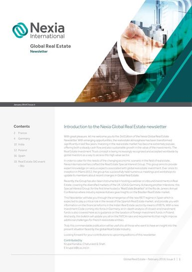 Nexia Global Real Estate Newsletter, January 2016, Issue 3