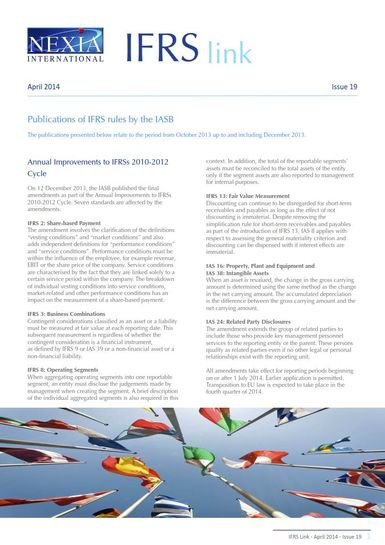 Nexia IFRS Link Newsletter, April 2014, Issue 19