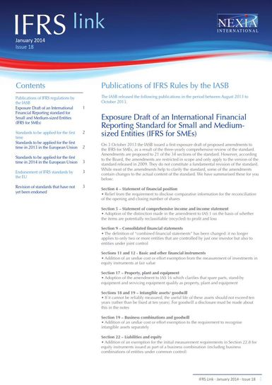 Nexia IFRS Link Newsletter, January 2014, Issue 18