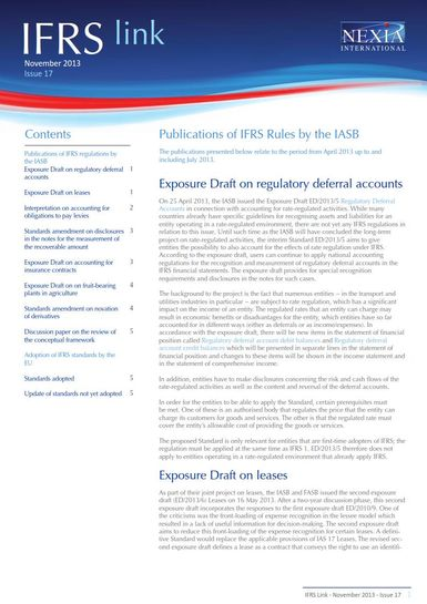 Nexia IFRS Link Newsletter, November 2013, Issue 17