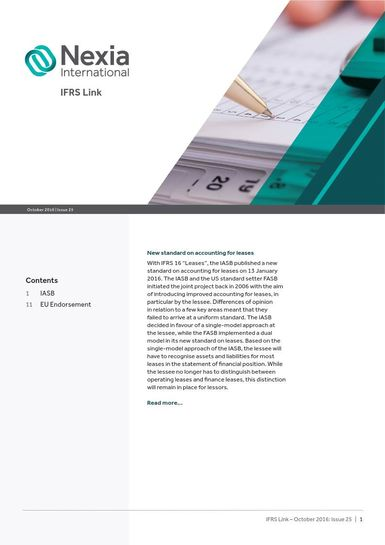 Nexia IFRS Link Newsletter, October 2016, Issue 25