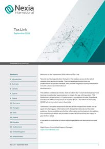 Nexia International Tax Link September 2018, Issue 118